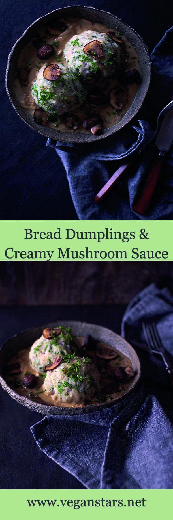 Bread dumplings with Creamy Mushroom Sauce