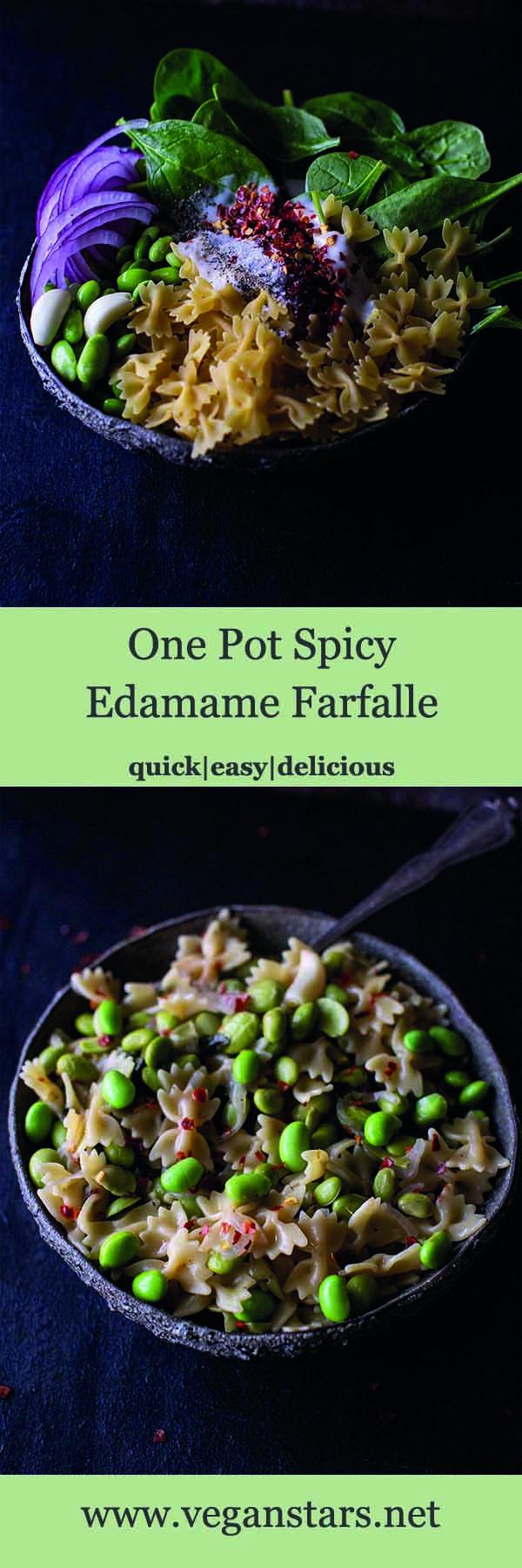 One Pot Spicy Edamame Farfalle