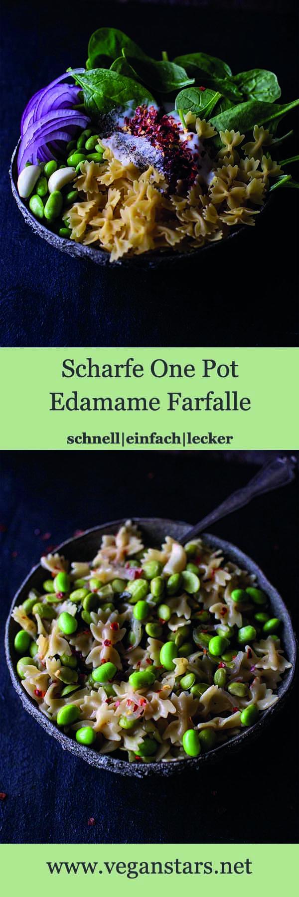 Scharfe One Pot Edamame Farfalle