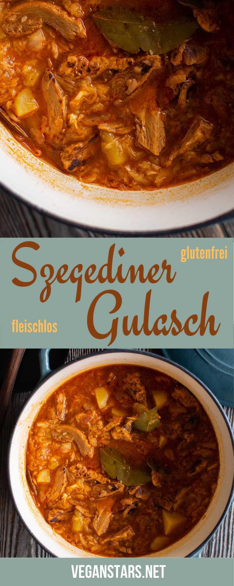 Szegediner Gulasch ohne Fleisch (vegan)